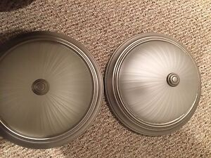 2 flush mount pewter lights.