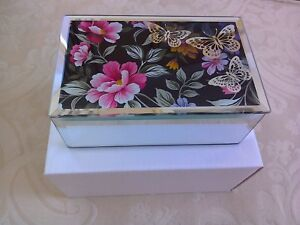 jewellery trinket box decorated with flowers & butterflies, glass, lined, boxed