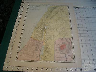 "Vintage Original 1898 Rand McNally Map:  PALESTINE, 15 x 21"""