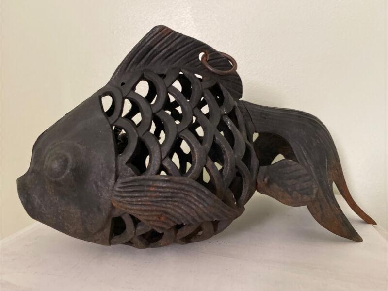 """HUGE 14"""" JAPANESE  CAST IRON LANTERN RUSTIC VINTAGE KOI FISH HANGING"""