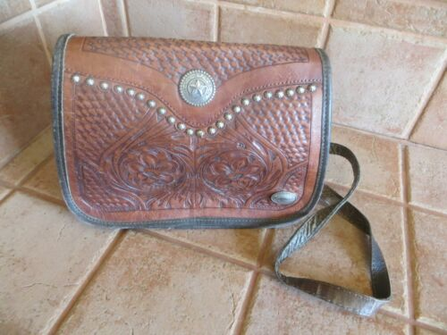 Vintage American West Hand Tooled Crossbody Leather Handbag- EUC