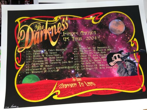 The Darkness 2004 US Tour Poster Art print Art by Macrae signed and numbered