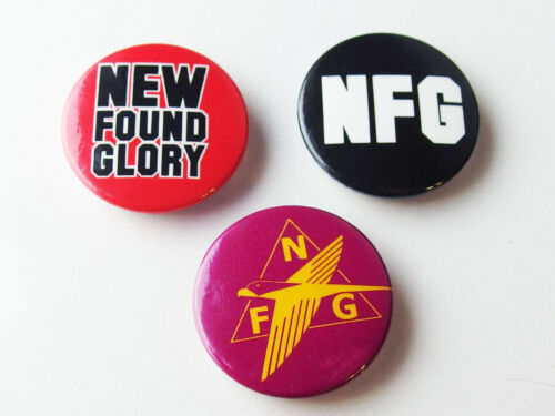 New Found Glory 3 x 1-inch Pin Button Set, NOS OOP Licensed