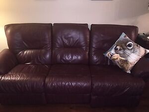 Genuine leather reclining couch and love seat