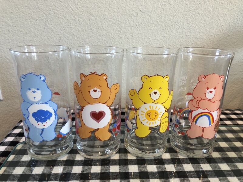 4 Care Bears 1983 Pizza Hut Promo Glasses: Cheer, Tenderheart, Funshine, Grumpy