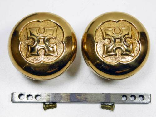 Very Nice Pair of Early 1900 Ornate Door Knobs Cast Bras, on Spindle with Screws