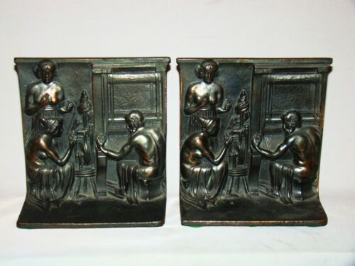 Pair of Bronze Patinated Metal Relief Figural Ancient Spinner & Weaver Bookends