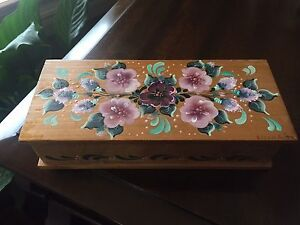Hand painted small wooden Trinket box and plaque