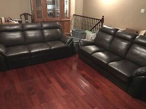 LEATHER COUCH, BED, DESK AND HUTCH