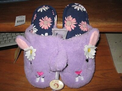 WOMENS SLIPPERS SIZE LARGE 9 10 PURPLE (LILAC) EASTER BUNNY SLIPPERS DAISYS NEW
