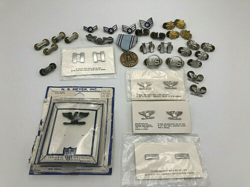 Vintage US Military Insignia Lot Pins Bars Sterling Silver Filled N.S. Meyer