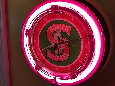 Singer Sewing Machines Seamstress Tailor Store Advertising Neon Wall Clock (Tailor Sewing Machines)
