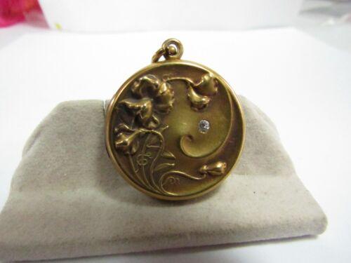 ART NOUVEAU 18K SOLID GOLD LOCKET W/ NATURAL DIAMOND