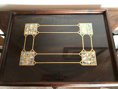Antique Wooden Tray With Mother Of Pearl Inlay