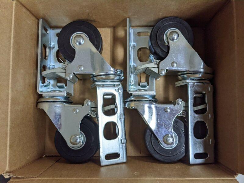 4pc Storage Rack Caster Wheels (Adapts to Boltless Self Locking Shelving Racks)