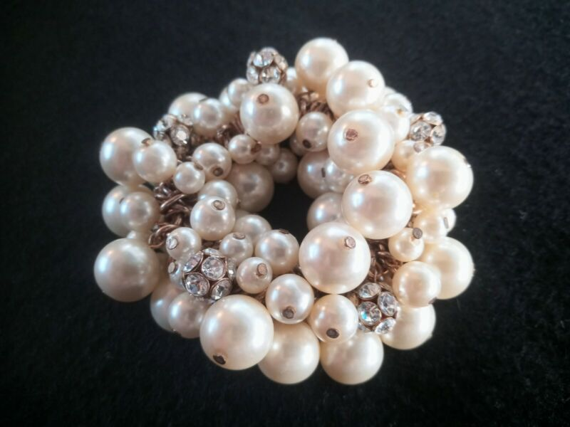 Faux Pearl and White Rhinestone Beaded Stretch Cluster Bangle Bracelet