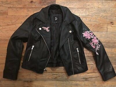 Art Class Faux leather flower cycle jacket girls/youth size small (Faux Leather Girls Jacket)