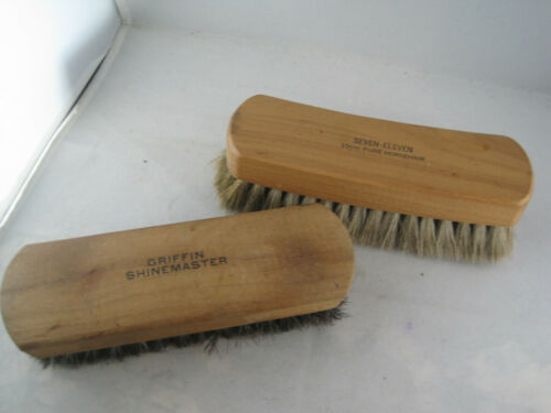 Lot of 2 Shoe Shine Brushes - Seven Eleven 100% Horsehair - Griffin Shinemaster