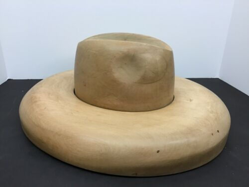 "Antique Millinery Wood Hat Block Mold Form 1209-2-10G ""The Cowboy""  Men"
