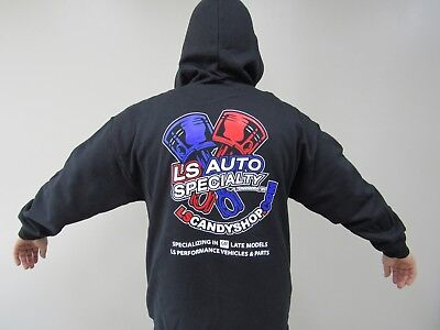 LS Auto Specialty BLACK Hooded Sweatshirt ZIPPER Hoodie w full color logos ()
