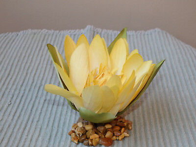 Artificial Fish Aquarium SMALL 3 in YELLOW Silk WATER LILY FLOWER w/ STONE BASE