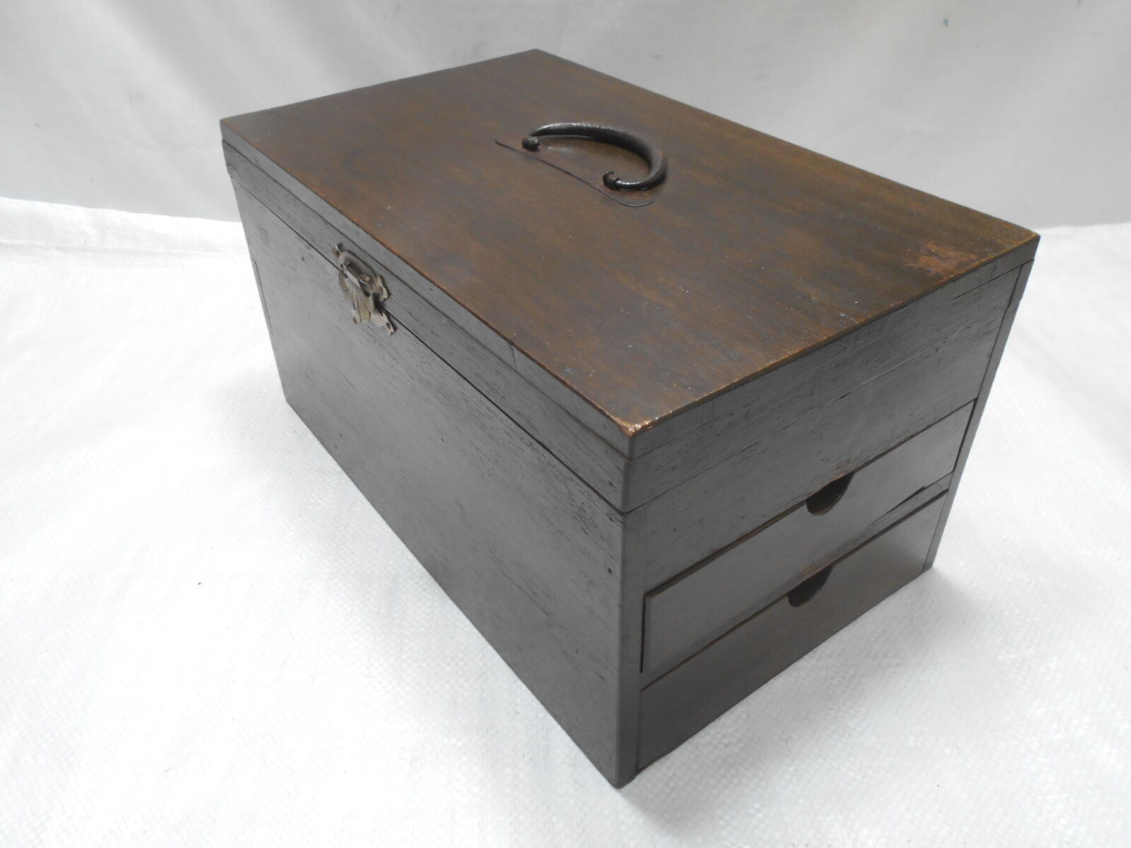Antique  Chestnut Wood Document Storage Box Japanese Drawers Circa 1930s #582