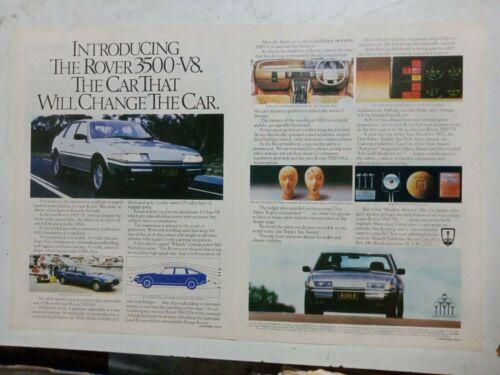 ROVER SD1 SERIES 1 3500 V8 2 PAGE COLOUR AUSTRALIAN MAGAZINE ADVERTISEMENT