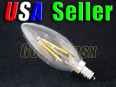- Lot of 6 - 110V AC 2.0W Warm White LED E12 Base Candelabra Candle Light Bulb