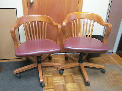Yale Law School Nostalgia Office Conference Rolling Wood Chairs Wvinyl Cushions