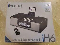 iHome iH6 Black Alarm Clock AM/FM Radio iPod Docking Station W/Remote & Box