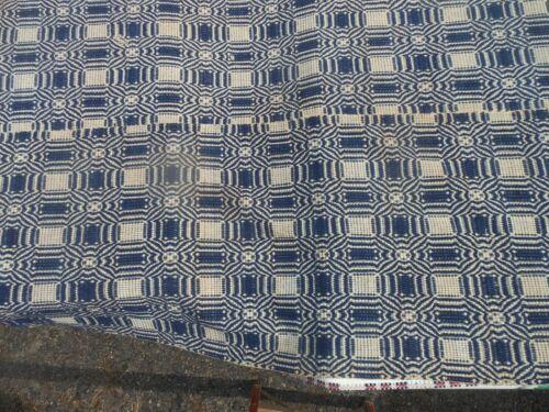 Very Good Antique American Homespun 2 Panel Blue & White Overshot Coverlet