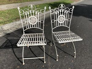 Pair Of Vintage Outdoor Metal Chairs