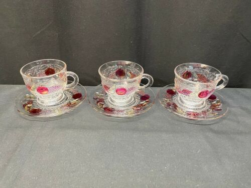 """Westmoreland """"DELLA ROBBIA"""" Flashed ~ Set of 3 ~ Cups & Saucers ~ 2"""" Tall"""