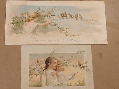 "#Original 1800's Victorian Lot of 2 Paper Card ""Easter Birds"" 5.5 x 3.75"""