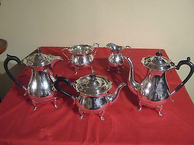 HUGE 3,075 Grams,WALKER & HALL,LARGE ART DECO 5 PIECE SILVER TEA & COFFEE SET.