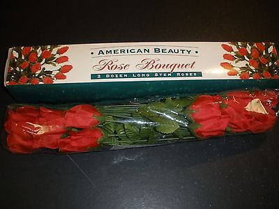 Dozen Beautiful Red Roses - AMERICAN BEAUTY ROSE BOUQUET 2 DOZEN LONG STEM ROSES FAKE/PLASTIC