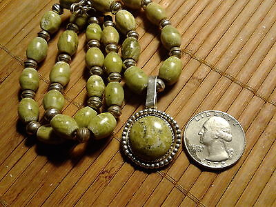 Vintage Bench Bead Natural Stone Necklace Sterling Silver Native American