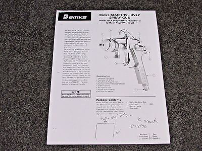 Binks Mach 1sl Hvlp Air Spray Gun Parts User Manual