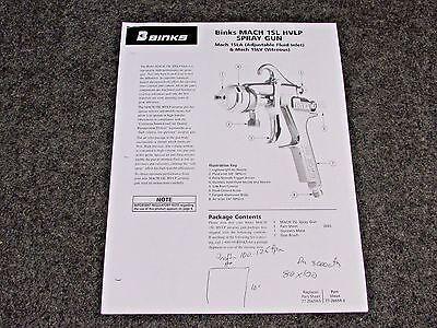 Binks Mach 1sl Hvlp Air Spray Gun Parts User Manual