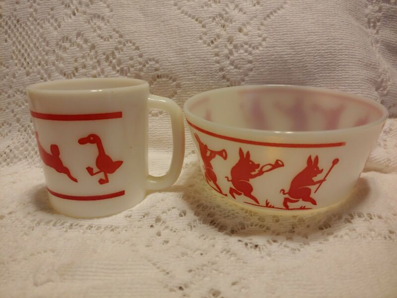 Two Vintage Red White Milkglass Childrens Pieces  Animals Bowl D-Handled Cup