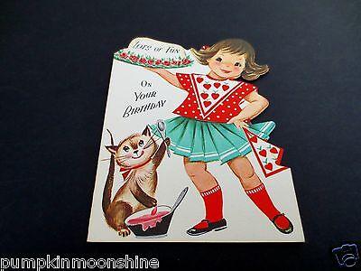 #J716- Unused Vintage Die Cut Birthday Greeting Card Girl & Kitten Making Cake!