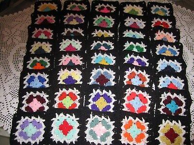 "40-5"" CROCHETED GRANNY SQUARES BLOCKS 4 AFGHAN, AFGHANS* ASSORTED  COLORS, BLACK"