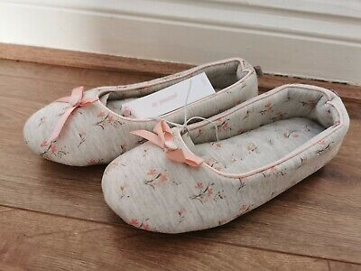Totes Isotoner Grey Floral Ballet Slippers UK Ladies Size 3-4 S  New
