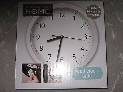 Wall Clock Safe Hide Money Valuables Home Time Numbers Battery Silver NEW!
