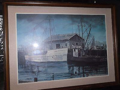 Vintage 1973 FINE ART Boat Dock FISHING 19x25 Signed ORIGINAL? Watercolor
