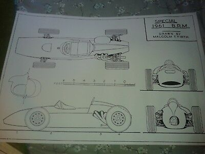 A1 plan drawing 1961 BRM P48 Formula 1 car