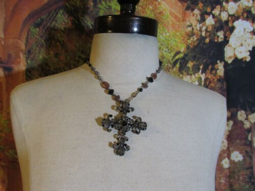 Silver Tone Necklace with Multi Styles & Colors of Beads & a Rhinestone Cross 16