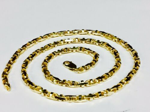 """14k Solid Yellow Gold Anchor Mariner Bullet Link Chain Necklace 4mm 40 Grams 22"""""""