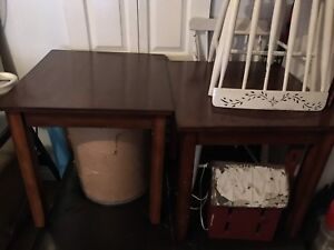 A pair of large end tables
