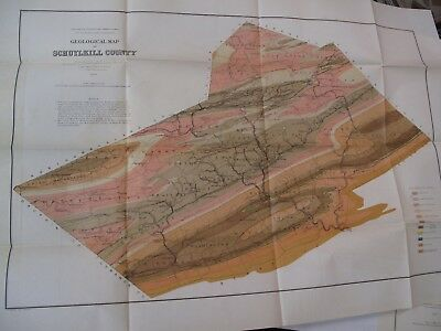 Lot of 2 Geological Color Flding Maps 1881 Dauphin 1891 Schuylkill Pennsylvania